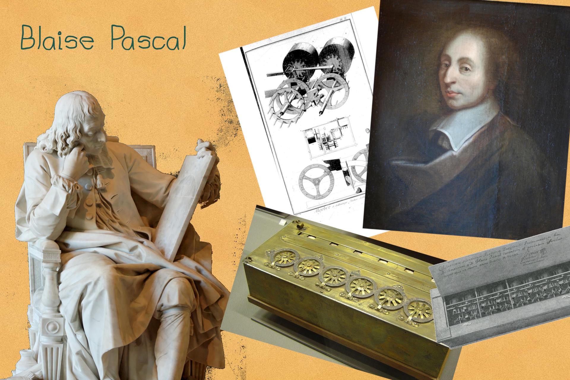 Blaise Pascal, portrait, statue et travaux